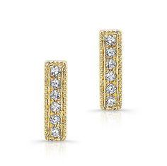 "14KT Yellow Gold Diamond Mini Bar Earrings Measures 1/4"" in length"