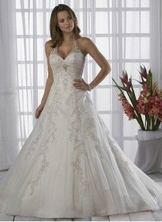 A-Line/Princess Halter Chapel Train Satin Tulle Wedding Dress With Ruffle Lace…