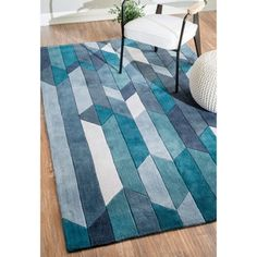 nuLOOM Handmade Modern Geometric Blue Rug (7'6 x 9'6) | Overstock.com Shopping - The Best Deals on 7x9 - 10x14 Rugs