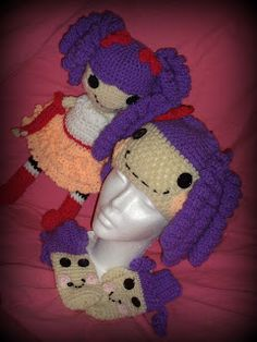Lalaloopsy Inspired Doll Dolly Hat Mitts Mittens Crochet Pattern