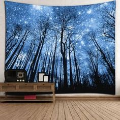 Wall Hanging Forest Print Tapestry - BLUE W91 INCH * L71 INCH