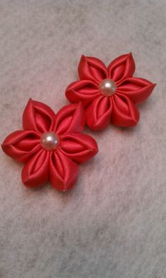 Coral kanzashi flowers satin hair bow accessory hair flower set SugarbowsDesigns