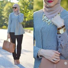 checked blouse neutral outfit- Neutral hijab outfit ideas http://www.justtrendygirls.com/neutral-hijab-outfit-ideas/