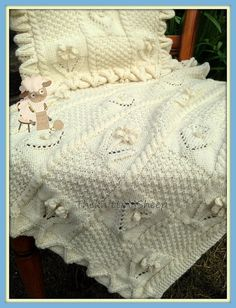 PDF Knitting Pattern  Baby Blanket and Pillowcase  Flowers &