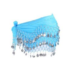 Chiffon Dangling 128 Silver Coins Belly Dance Hip Scarf, Vogue Style... ❤ liked on Polyvore featuring accessories, scarves, blue scarves, silver scarves, silver chiffon shawl, chiffon scarves and silver shawl