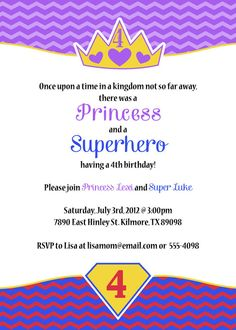 Princess and Superhero birthday invitation, boy girl party, twins printable jpeg, digital file. via Etsy.