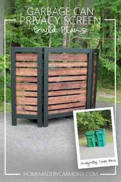Learn to build a chic modern privacy screen to hide unsightly outdoor appliances and trash cans. Easy and stylish! Learn to build a chic modern privacy screen to hide unsightly outdoor appliances and trash cans. Easy and stylish! Hide Trash Cans, Trash Bins, Outdoor Projects, Garden Projects, Diy Projects, Project Ideas, Privacy Screen Outdoor, Privacy Screens, Balcony Privacy