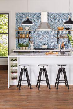 IKEA kitchen w/ island, decorative tile backsplash & black accents Kitchen Reno, Kitchen Tiles, New Kitchen, Kitchen Dining, Kitchen Remodel, White Tile Backsplash, White Countertops, Boho Kitchen, Luxury Homes Interior