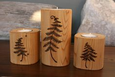 Small Fallen Tree Tea Light Candle Holder - could make these with a fallen tree…