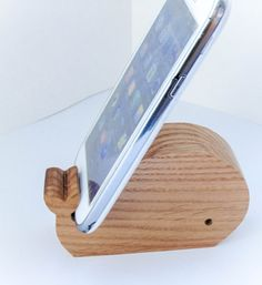 Whale phone holder  tablet holder made of oak
