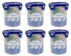 Frischhaltedosen Vorratsdosen Rund transparent mit blauem Deckel 700 ml 6 Stück