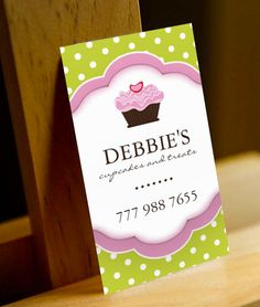 Fully customizable cupcake business cards created by Colourful Designs Inc.