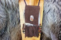 "3 1/2"" x 4"" Bag Dimensions, with Beaded Tassels- 3 1/2"" x 7"" Leather Necklace Strap 18"" Brown Cow Hide Suede Leather with Natural Authentic Red Fox Fur. Deerskin Leather Lace Tassels and Necklace Stra"