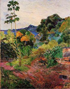 """""""Martinique Landschaft"""", öl auf leinwand von Paul Gauguin (1848-1903, France)"""
