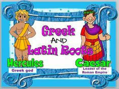Everything you need to teach Greek and Latin Roots in an hour. Interactive Power Point, task cards, posters, quiz. And cute graphics, too! Rosie's Resources on TeachersPayTeachers.com