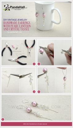 DIY vintage jewelry- handmade earrings with pearl lantern and crystal tassel
