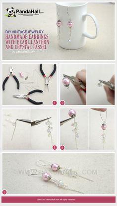 handmade earrings with pearl lantern and crystal tassel