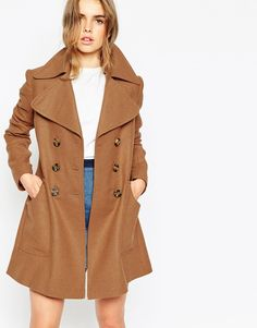 Image 1 ofASOS Coat With Oversized Collar And Double Breast Detail