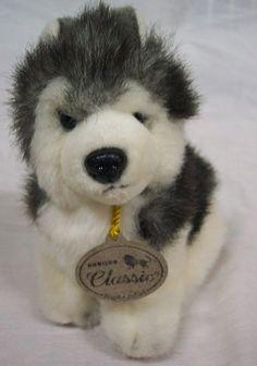 "Aurora Classic HUSKY PUPPY DOG 6"" Plush STUFFED ANIMAL Toy"
