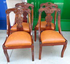 4 sedie inglesi a gondola - gondoline in mogano schienale scolpito patina+ primo '900