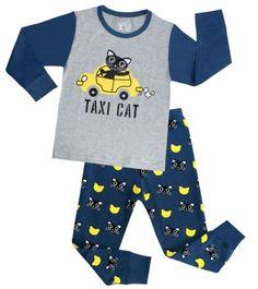 Boys-Pajamas-Taxi-Cab-Cotton-2-Piece-Sleepwear-Baby-Cloth-Sets-Kids-Size-2T-10T
