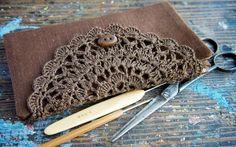 Linen Crochet Hook Case - Holder - Organizer -- brown $37.00