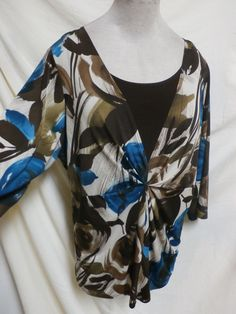 Dressbarn Plus Size Brown And Turquoise Stretch Knit Top Size 1X #Dressbarn #KnitTop