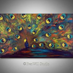 PEACOCK Painting ORIGINAL Large COLORFUL Modern Art - Metallic Copper Turquoise Oil Painting on Canvas 40x24 by BenWill