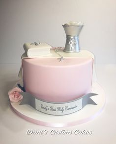 Girl Communion Cake with Bible, Chalice and Rosery