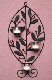 Leaf with Berries Metal Candle Wall Sconce - Candle Holder