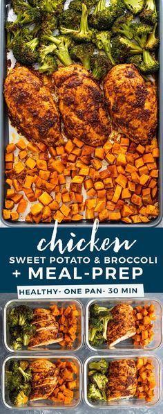 Healthy one-pan chicken, sweet potatoes, and broccoli oven-roasted to perfection! This quick one-pan dish is packed full of flavor and is GREAT for meal Easy Healthy Meal Prep, Easy Healthy Recipes, Easy Lunch Meal Prep, Food Meal Prep, Meal Prep Dinner Ideas, Meal Prep For Work, Health Meal Prep, Fitness Meal Prep, Paleo Meal Prep