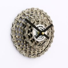Steampunk SRAM Bicycle Gear Clock by treadandpedals  This Recycled Bicycle Gear Clock has been handcrafted with care from a set of high end SRAM mountain bike recycled bicycle cogs, bike chain and gears. This clock is sure to impress and become the talking piece of any space and would look awesome in the home, office or the man cave.  https://www.etsy.com/shop/treadandpedals
