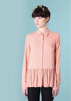 Peplum Polka Shirt Coral