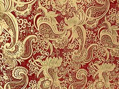 "BURGUNDY & GOLD METALLIC PAISLEY BROCADE FABRIC 60"" Wide By the YARD"