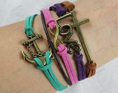 charm bracelets- leather bracelets with love infinite  accessories  colorful bracelets  best chosen for birthday gifts 97. $7.99, via Etsy.