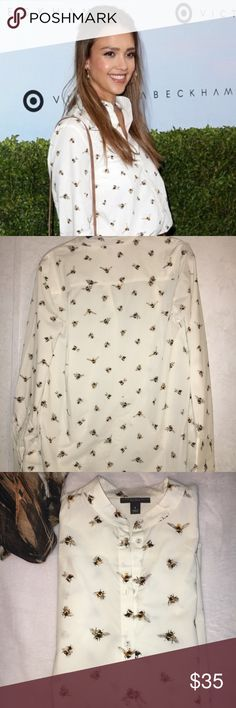 "Victoria Beckham Bee Shirt -Size Small -NWT Victoria Beckham Bee Shirt -Size Small -NWT 19"" Pit to Pit - 17-1/2"" pit to bottom  25-1/2"" Shoulder to Bottom  21-1/2"" across bottom- 25"" sleeve length- 4-1/4"" cuff width - one butt cuff Pet Free-Smoke Free Home  Thanks for looking! Victoria Beckham Tops Button Down Shirts"