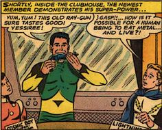 I love the Legion of Super-Heroes.  But, they've had some really odd ducks on their roster, like Matter-Eater Lad.  Best of all, he was considered a serious character in the 60's and 70's!