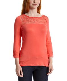 This Coral Embroidered Three-Quarter Sleeve Top - Women by Simply Irresistible is perfect! #zulilyfinds