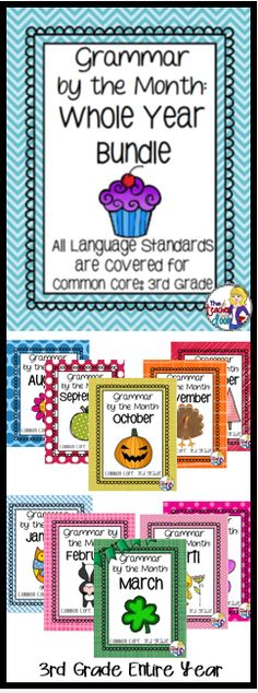 Covers all Third Grade Common Core language standards from August to May for the whole year! Skills are spiraled to keep them fresh! Thematic topics tie into each month's holidays and historical events. A fun way to learn grammar! (TpT Resource)