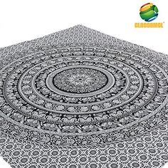 Elephant Mandala Wall hanging Tapestry- Black and White- Queen Size Free Pillow Cover by CLASSAMOL(TM) Tapestries. Made in India- Tree of Life Psychedelic Art- Bohemian- Hippie Hippy