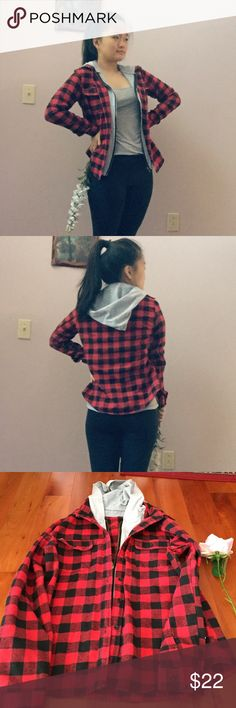 // flannel zip up jacket \\ Features: 🍍zipper to zip up 🍍buttons to button up 🍍buttons at ends of sleeves 🍍hoodie 🍍two chest pockets 🍍Materials ~outside layer: 100% cotton ~inside layer: 60% cotton 40% polyester 🍍made in China 🍍no brand tag (don't remember where I got it)  ~pls no trades or holds//will bundle ~price is negotiable ~worn//perfect condition Urban Outfitters Jackets & Coats Jean Jackets