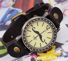 Moustache Watch,Fashion Watch, Vintage Style Watch from yourlifestyle by DaWanda.com