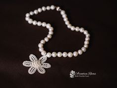 Galway Necklace Cultivated pearl necklace with Irish Crochet piece . Choose color and size of pearls, clasp and necklace length. Cr...