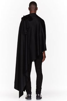 Thamanyah Black Fleece & Angora Ehram Cape for men   SSENSE