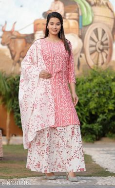 Checkout this latest Dupatta Sets Product Name: *Women's Printed White Rayon Kurta Set with Skirt* Kurta Fabric: Rayon Fabric: Cotton Bottomwear Fabric: Cotton Sleeve Length: Three-Quarter Sleeves Pattern: Printed Set Type: Kurta with Dupatta and Bottomwear Stitch Type: Stitched Multipack: Single Sizes:  M (Bust Size: 38 m, Bottom Waist Size: 30 m, Bottom Length Size: 40 m)  L (Bust Size: 40 in, Bottom Waist Size: 32 in, Bottom Length Size: 40 in)  XL (Bust Size: 42 in, Bottom Waist Size: 34 in, Bottom Length Size: 40 in)  XXL (Bust Size: 44 in, Bottom Waist Size: 36 in, Bottom Length Size: 40 in)  Country of Origin: India Easy Returns Available In Case Of Any Issue   Catalog Rating: ★4 (329)  Catalog Name: Women Rayon Printed Skirt Dupatta Set CatalogID_933267 C74-SC1853 Code: 555-6130802-8151