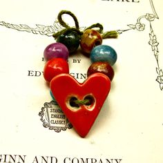 Red Heart Button and Ceramic Porcelain Bead  by JeraLunaDesigns, $21.00