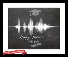 Unique Happy High School Graduation Gift Ideas, Custom Sound Wave Print Art Voice Recording, 2015 Personalized For Grad Senior Present by CreativeWavePrints on Etsy https://www.etsy.com/listing/205807742/unique-happy-high-school-graduation-gift