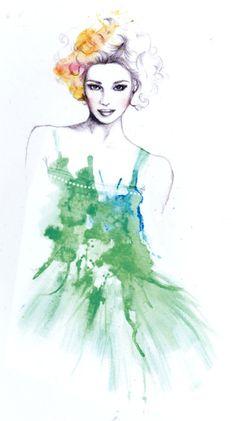 """Lady in a green dress""  Pencil and watercolor illustration  Chantel de Sousa"