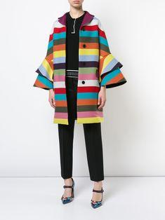 Mary Katrantzou rainbow striped frill cuff coat