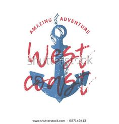 vector illustration with typography slogan, anchor and rope, sea print with grunge elements, vintage t-shirt design